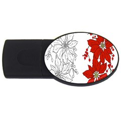 Poinsettia Flower Coloring Page USB Flash Drive Oval (4 GB)
