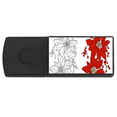 Poinsettia Flower Coloring Page USB Flash Drive Rectangular (4 GB)