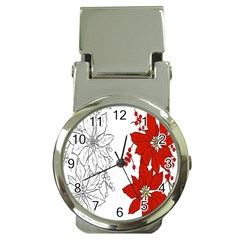 Poinsettia Flower Coloring Page Money Clip Watches