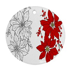 Poinsettia Flower Coloring Page Round Ornament (two Sides)