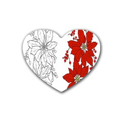 Poinsettia Flower Coloring Page Heart Coaster (4 Pack)