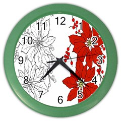 Poinsettia Flower Coloring Page Color Wall Clocks