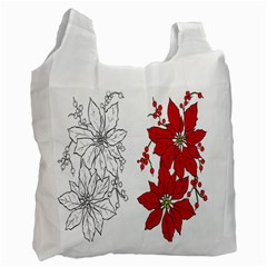 Poinsettia Flower Coloring Page Recycle Bag (Two Side)