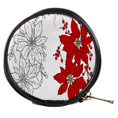 Poinsettia Flower Coloring Page Mini Makeup Bags