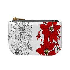Poinsettia Flower Coloring Page Mini Coin Purses