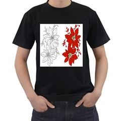 Poinsettia Flower Coloring Page Men s T-Shirt (Black)