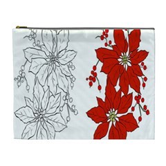 Poinsettia Flower Coloring Page Cosmetic Bag (XL)