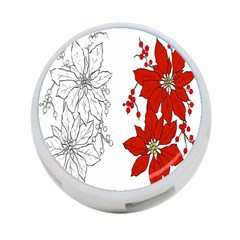 Poinsettia Flower Coloring Page 4-Port USB Hub (Two Sides)