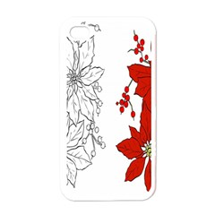 Poinsettia Flower Coloring Page Apple iPhone 4 Case (White)