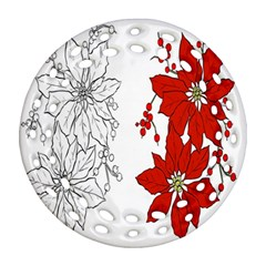 Poinsettia Flower Coloring Page Round Filigree Ornament (two Sides)