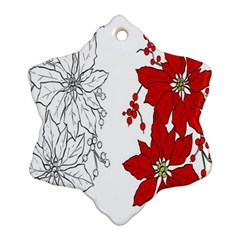 Poinsettia Flower Coloring Page Snowflake Ornament (Two Sides)