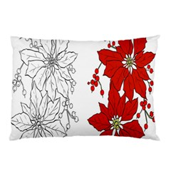 Poinsettia Flower Coloring Page Pillow Case (Two Sides)