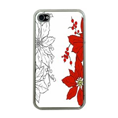 Poinsettia Flower Coloring Page Apple iPhone 4 Case (Clear)