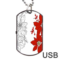 Poinsettia Flower Coloring Page Dog Tag USB Flash (One Side)