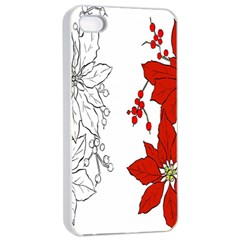 Poinsettia Flower Coloring Page Apple Iphone 4/4s Seamless Case (white)