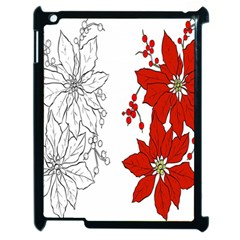 Poinsettia Flower Coloring Page Apple iPad 2 Case (Black)