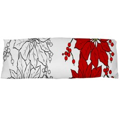 Poinsettia Flower Coloring Page Body Pillow Case Dakimakura (Two Sides)