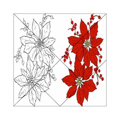 Poinsettia Flower Coloring Page Acrylic Tangram Puzzle (6  x 6 )
