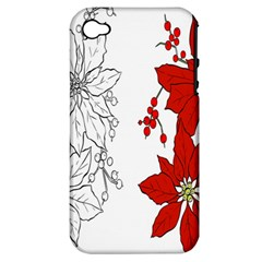 Poinsettia Flower Coloring Page Apple Iphone 4/4s Hardshell Case (pc+silicone)