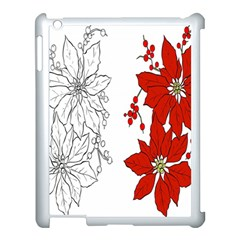 Poinsettia Flower Coloring Page Apple iPad 3/4 Case (White)