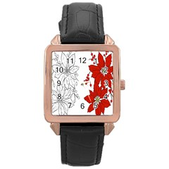Poinsettia Flower Coloring Page Rose Gold Leather Watch