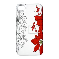 Poinsettia Flower Coloring Page Apple iPhone 4/4S Hardshell Case with Stand