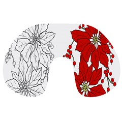 Poinsettia Flower Coloring Page Travel Neck Pillows