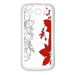 Poinsettia Flower Coloring Page Samsung Galaxy S3 Back Case (White)