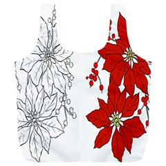Poinsettia Flower Coloring Page Full Print Recycle Bags (l)