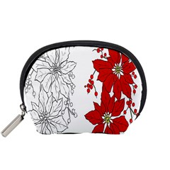 Poinsettia Flower Coloring Page Accessory Pouches (Small)