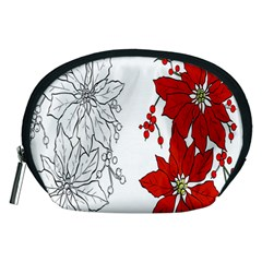 Poinsettia Flower Coloring Page Accessory Pouches (Medium)