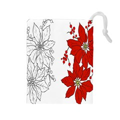 Poinsettia Flower Coloring Page Drawstring Pouches (Large)