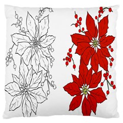 Poinsettia Flower Coloring Page Large Flano Cushion Case (Two Sides)