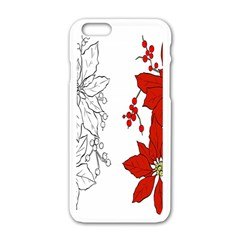 Poinsettia Flower Coloring Page Apple Iphone 6/6s White Enamel Case