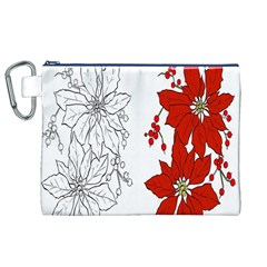 Poinsettia Flower Coloring Page Canvas Cosmetic Bag (XL)