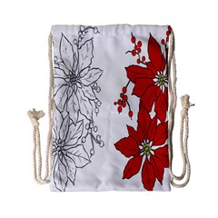 Poinsettia Flower Coloring Page Drawstring Bag (small)