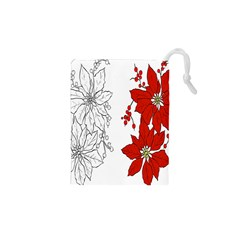 Poinsettia Flower Coloring Page Drawstring Pouches (xs)