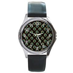 Peacock Inspired Background Round Metal Watch