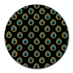 Peacock Inspired Background Round Mousepads