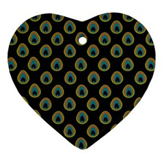 Peacock Inspired Background Ornament (Heart)