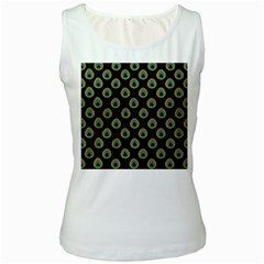 Peacock Inspired Background Women s White Tank Top