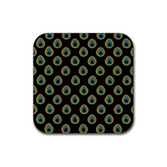Peacock Inspired Background Rubber Coaster (Square)