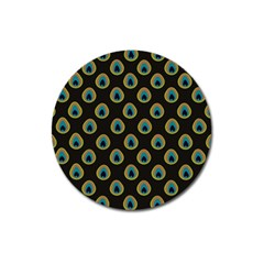 Peacock Inspired Background Magnet 3  (Round)