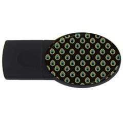 Peacock Inspired Background USB Flash Drive Oval (1 GB)