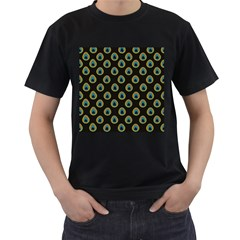 Peacock Inspired Background Men s T-Shirt (Black) (Two Sided)