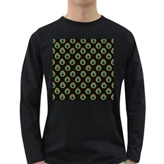 Peacock Inspired Background Long Sleeve Dark T-Shirts