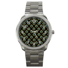Peacock Inspired Background Sport Metal Watch