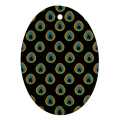 Peacock Inspired Background Oval Ornament (Two Sides)