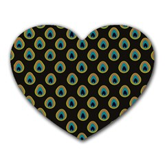 Peacock Inspired Background Heart Mousepads