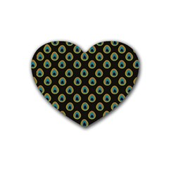 Peacock Inspired Background Heart Coaster (4 Pack)